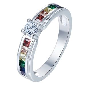 RAINBOW PRINCESS CUT 925 STERLING SILVER RING